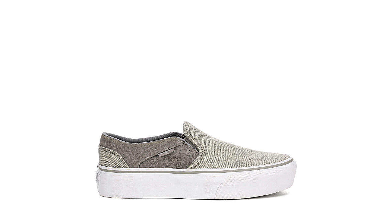 VANS Womens Asher Slip On Platform Sneaker - GREY