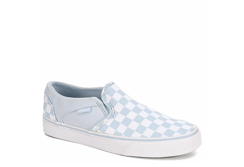 6f4eeaf78e Pale Blue Vans Asher Checkerboard Women s Slip-On Sneakers