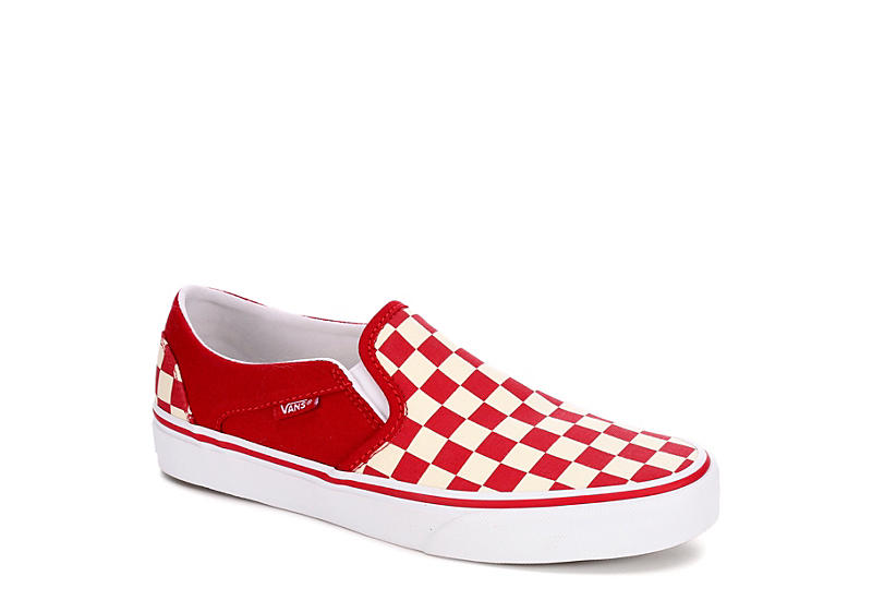 ae661ef4179f2 Red Vans Asher Checkerboard Women's Slip-On Sneakers | Off Broadway ...
