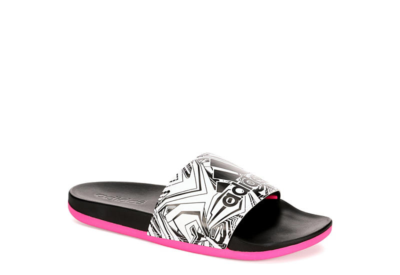 Black Adidas Womens Adilette Cloudfoam Print Sandal 544106