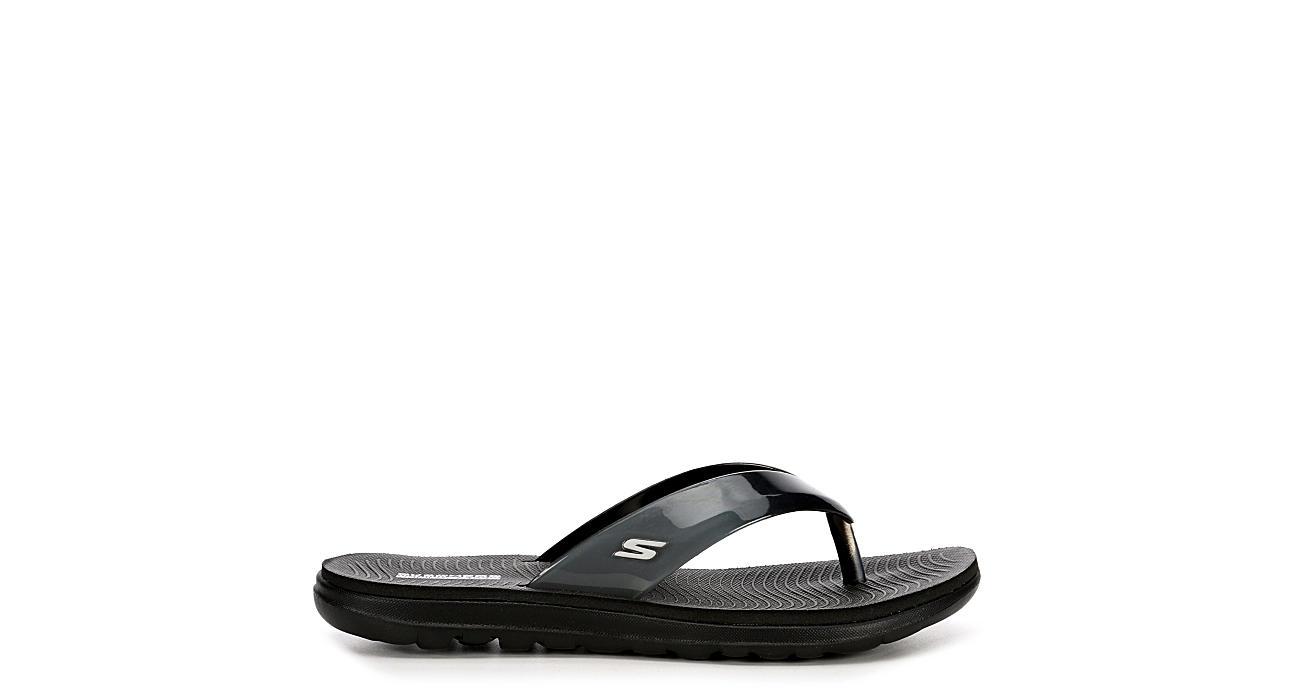 SKECHERS Womens Jelly Flip Flop Sandal - BLACK