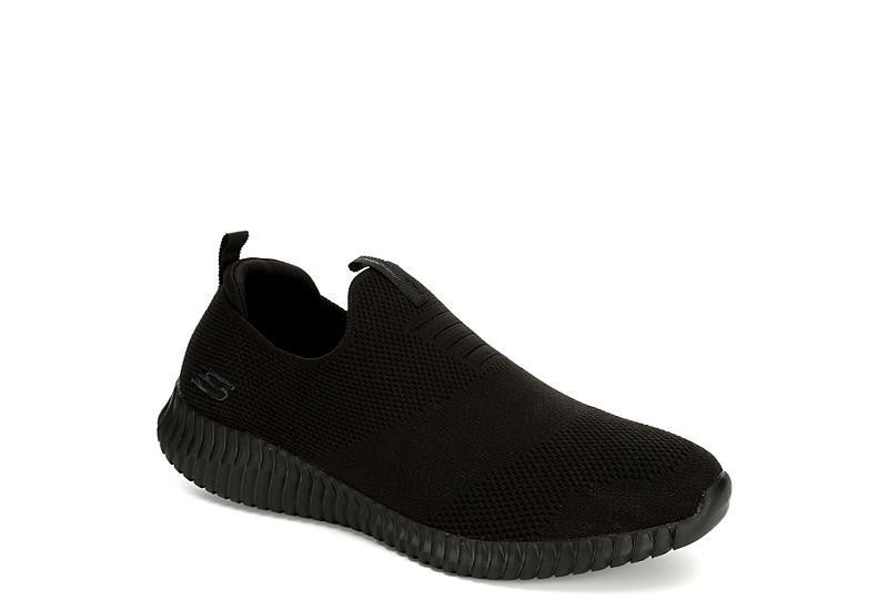BLACK SKECHERS Mens Elite Flex Wasik Slip Sneaker