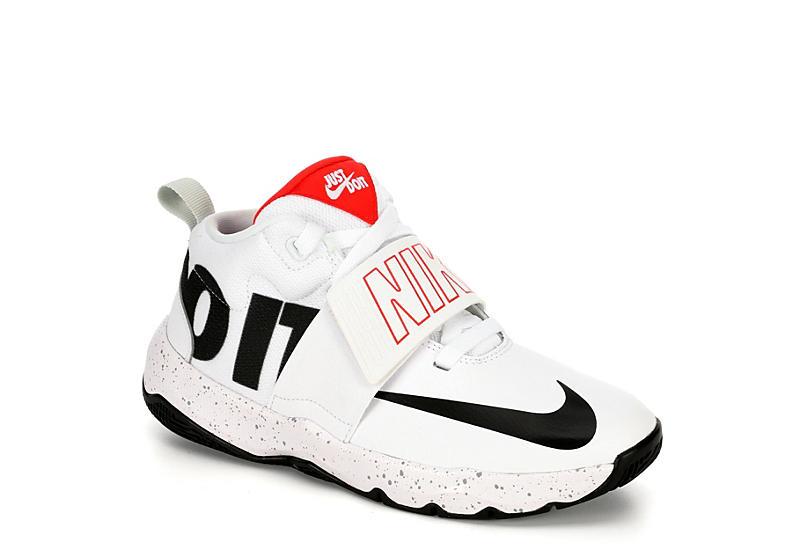 online retailer b2017 9024f Nike Boys Hustle D8 Grade School Basketball Shoe - White