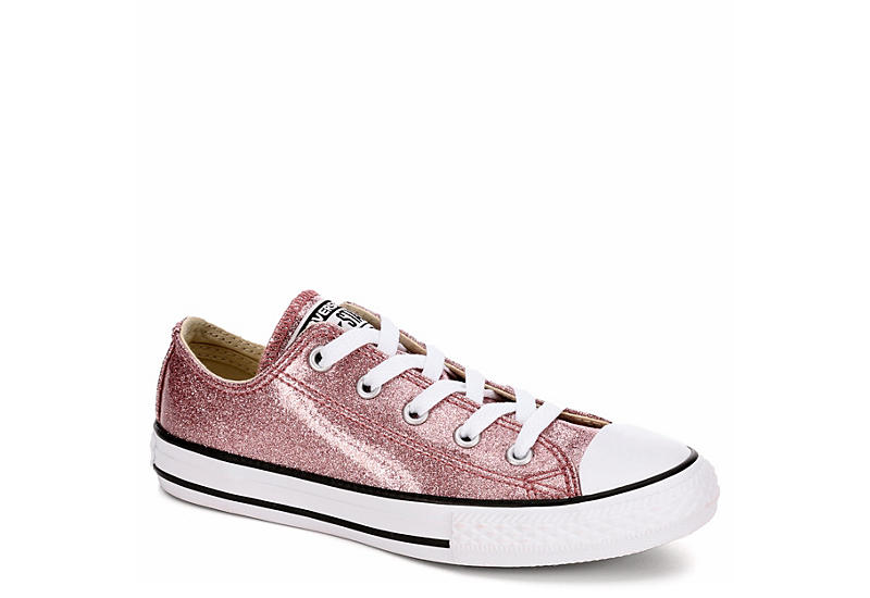28ff540a3495d ROSE GOLD CONVERSE Girls All Star Low Glitter Preschool Sneaker