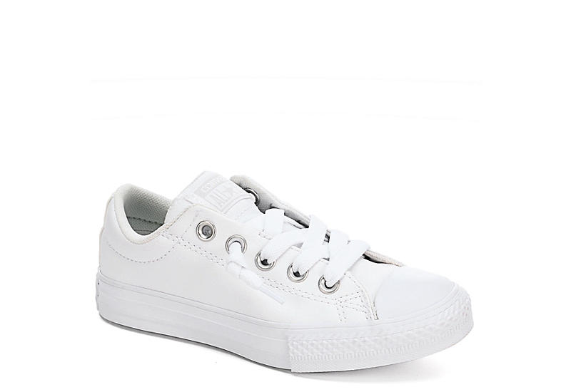 White Converse Girls Street Slip Leather Preschool Sneaker ...