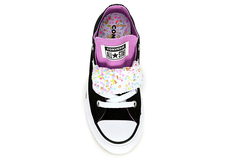 CONVERSE Girls Double Tongue Sneakers - BLACK