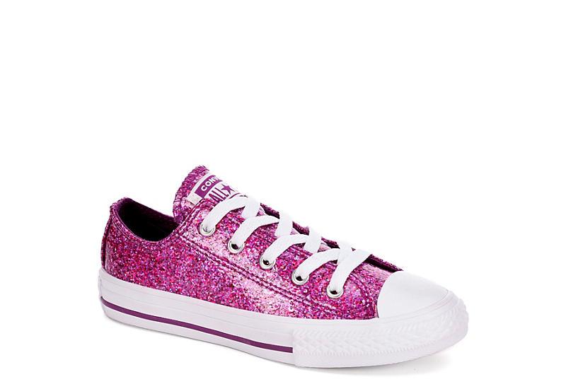 e22702199aca95 Purple Converse Girls Chuck Taylor All Star Glitter Low Sneaker ...