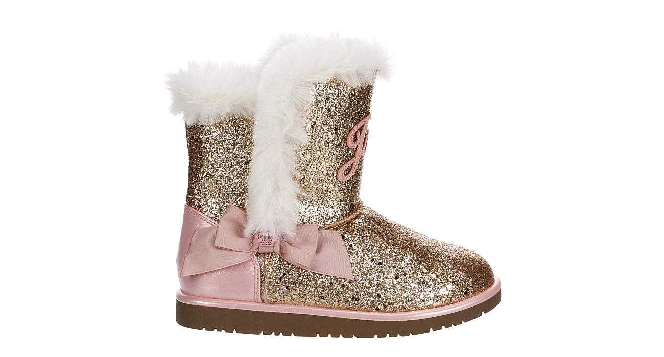 JUICY COUTURE Girls Windsor Glitter Cozy Boot - ROSE GOLD