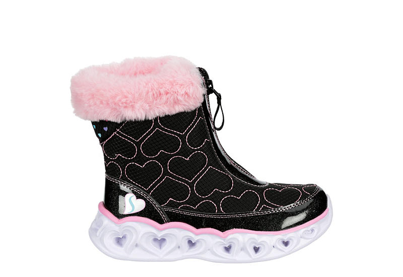 SKECHERS KIDS Girls Heart Lights - BLACK