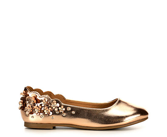 Girls Athena Rose Gold Flat