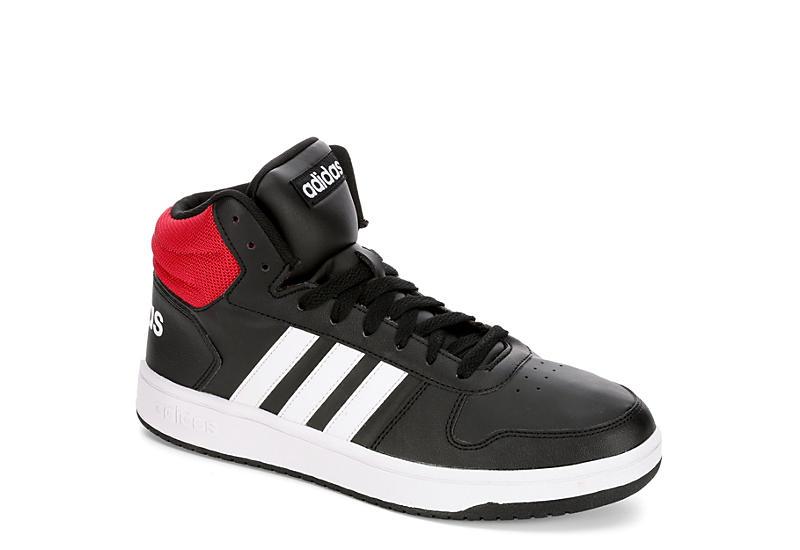 BLACK ADIDAS Mens Hoops 2.0 Mid Sneaker