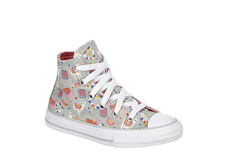 GREY CONVERSE Girls Chuck Taylor All Star High Top Sneaker