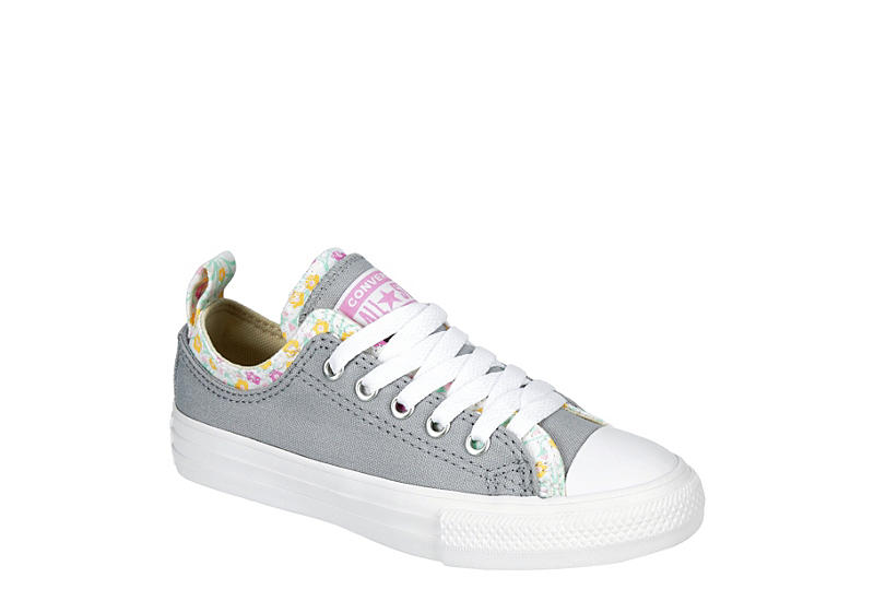 GREY CONVERSE Girls Chuck Taylor All Star Double Upper Sneaer