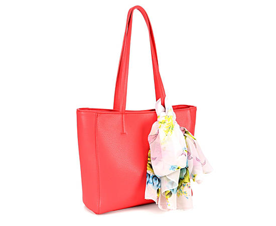 Womens Coral Leather Bag Wscarf