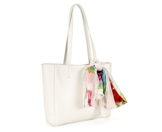 Womens White Leather Bag Wscarf