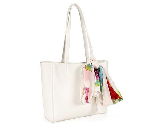 Womens White Leather Bag Wscarf