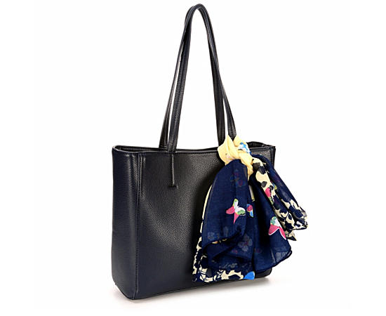 Womens Navy Leather Bag Wscarf