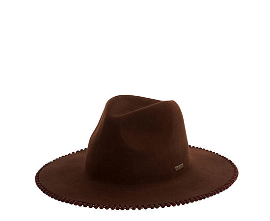 Womens Brown Wool Safari Hat W Pom Pom Brim Edge