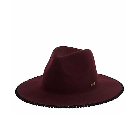 Womens Burgundy Wool Safari Hat W Pom Pom Brim Edge