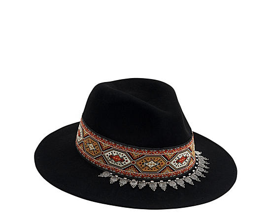 Womens Wool Felt Safari Hat With Ribbon And Metal Trim
