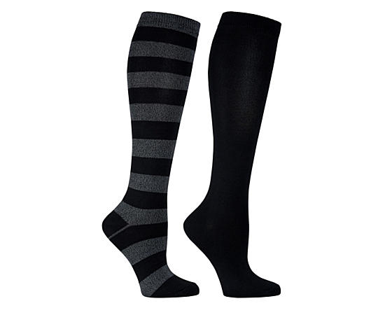 Womens 2 Pack Striped Knee High