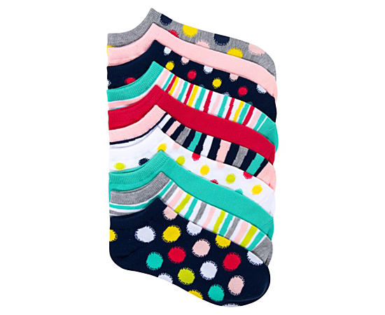 Womens 10 Pack No Show Dots  Stripes