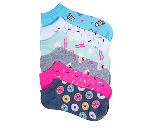 Womens 6 Pack Breakfast Swwets Doughnuts Ankle