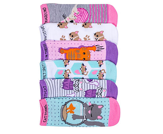 Womens 6 Pack Cat Theme Ankle