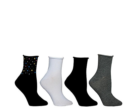 Womens Four Pack Roll Top Ankle With Studs