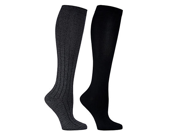 Womens 2 Pack Ribbed Knee High