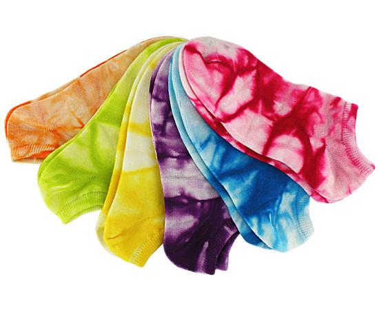 Girls 6 Pack Tie Dye No Show