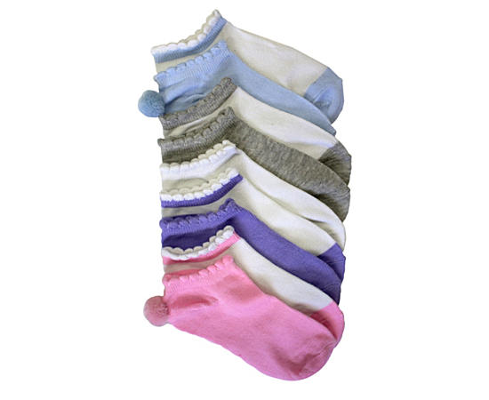 Girls Solid Pastel Pack With Pom