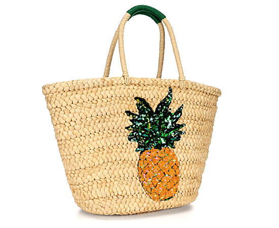 Womens Sequin Pineapple Straw Tote