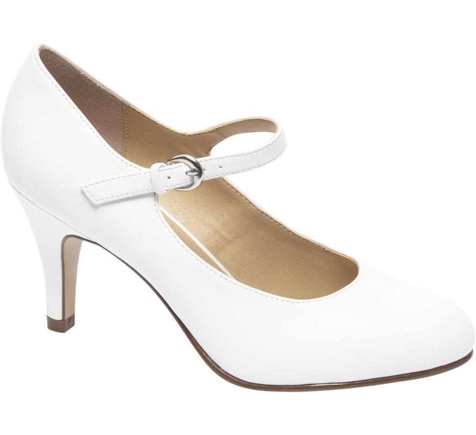 Chaussures Graceland Blanc Avec Peep-toe Avec Boucle Pour Femmes Hkoxl
