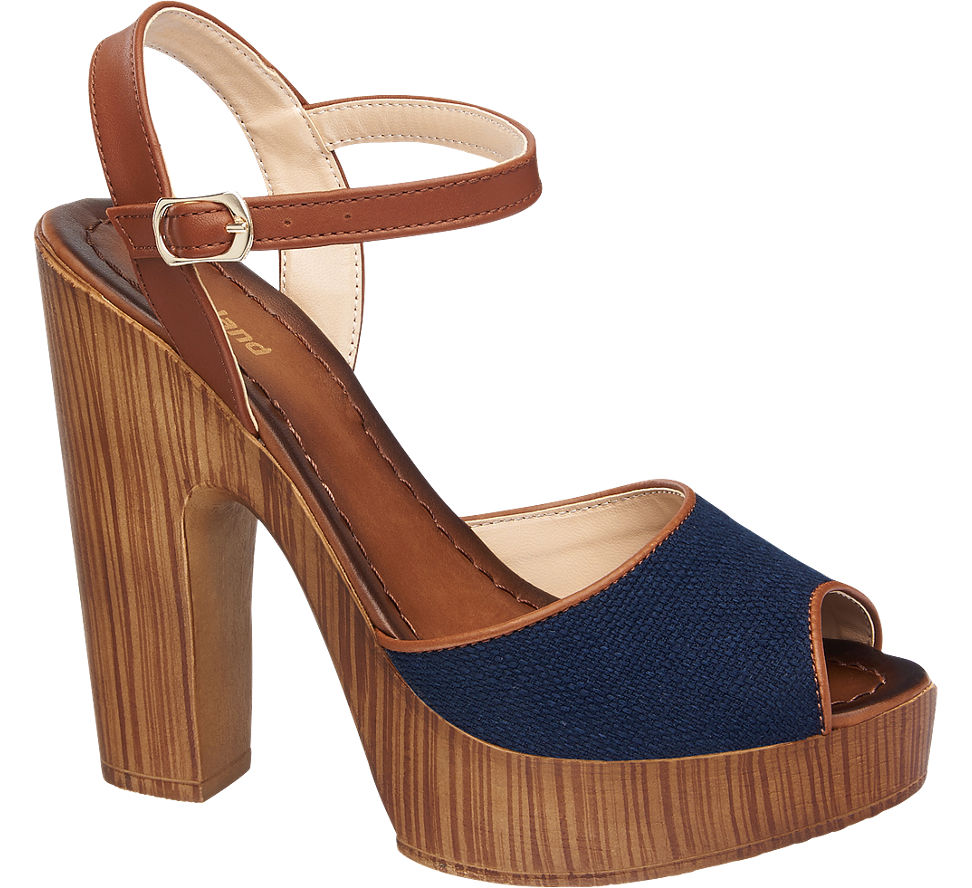 Graceland 1240827 Lacivert Taba Kalın Kadın Topuklu Ayakkabı