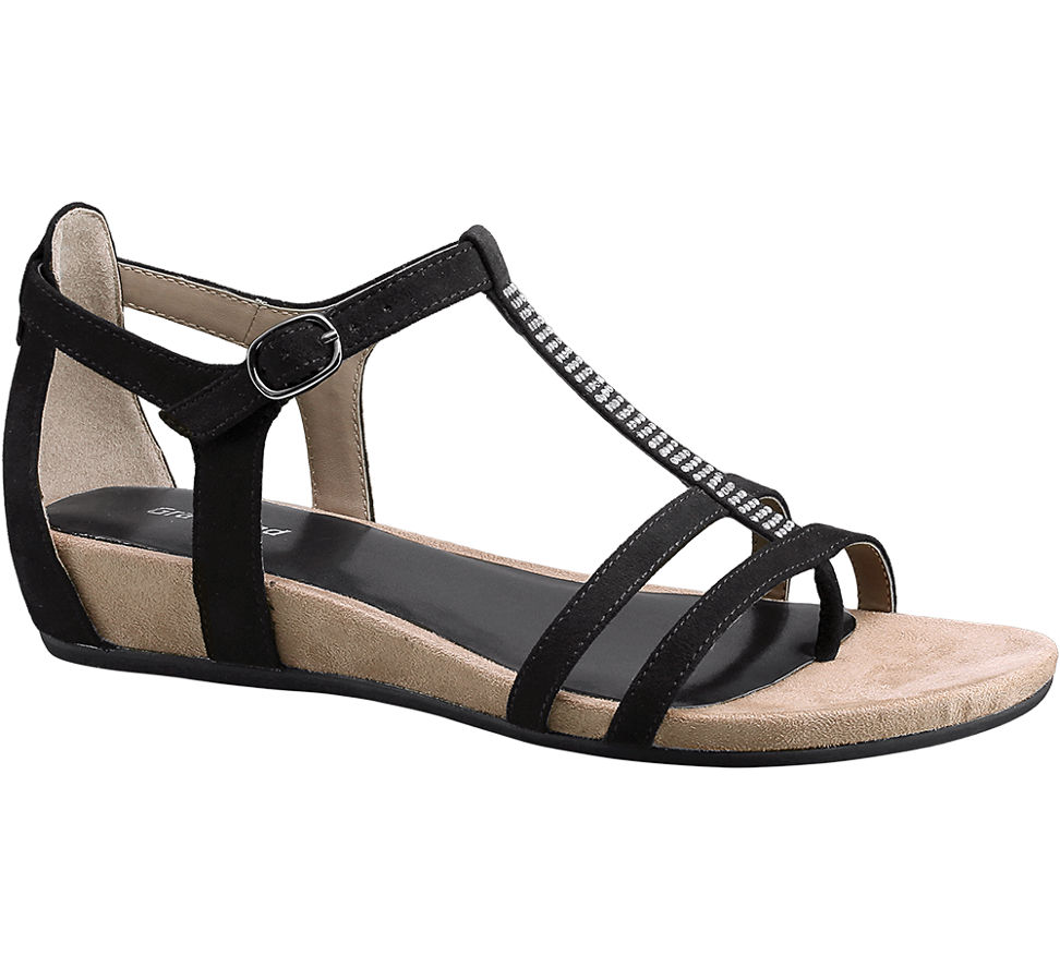 MesFemmes Graceland Sandale À Glissière Noir (taille 38, Noir)
