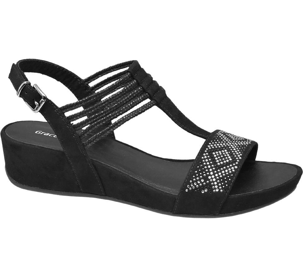 MesFemmes Sandale Élastiques Noirs Graceland (taille 44, Noir)