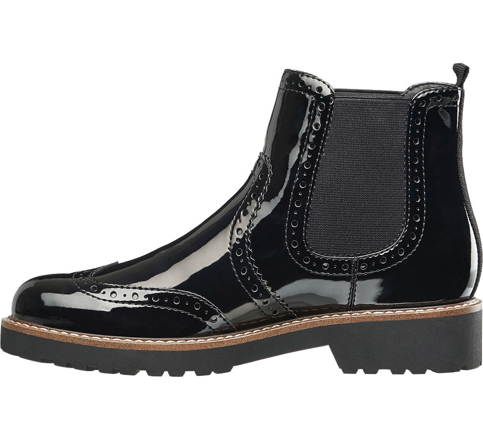 damen chelsea boots in lack optik von graceland in schwarz