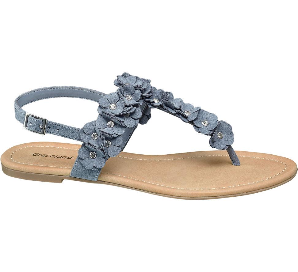 damen sandalen mit blumen dekor von graceland in blau. Black Bedroom Furniture Sets. Home Design Ideas