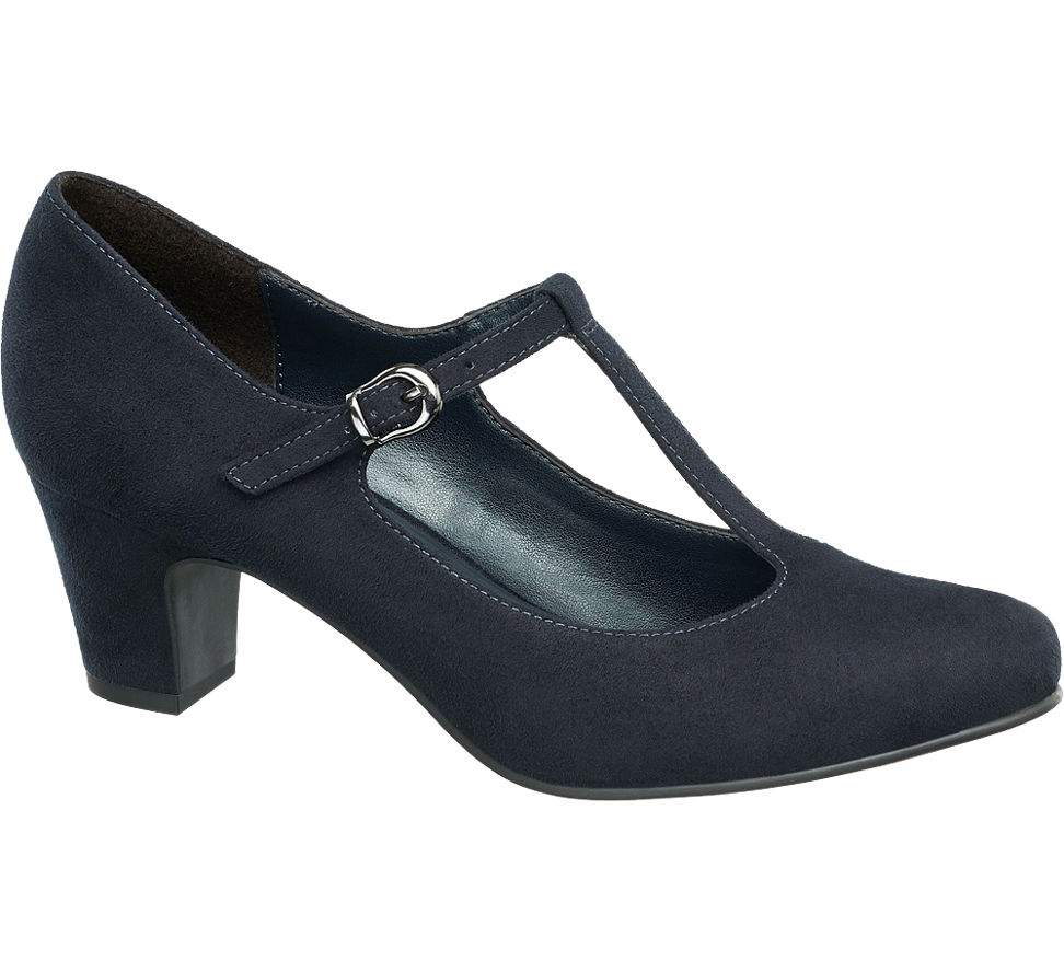 Ladies Navy T Bar Shoes