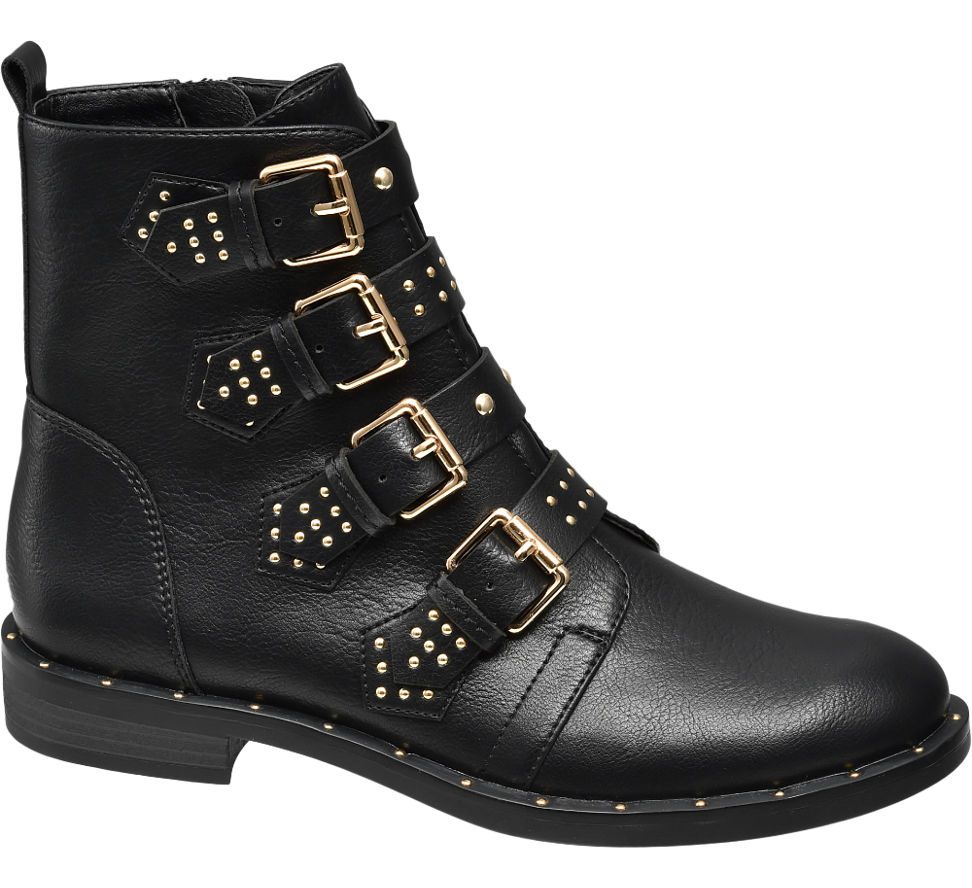 star collection ladies ankle buckle detail boots black. Black Bedroom Furniture Sets. Home Design Ideas
