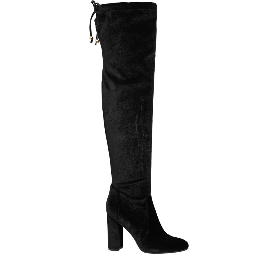 star collection ladies 39 over knee block heel boots black. Black Bedroom Furniture Sets. Home Design Ideas