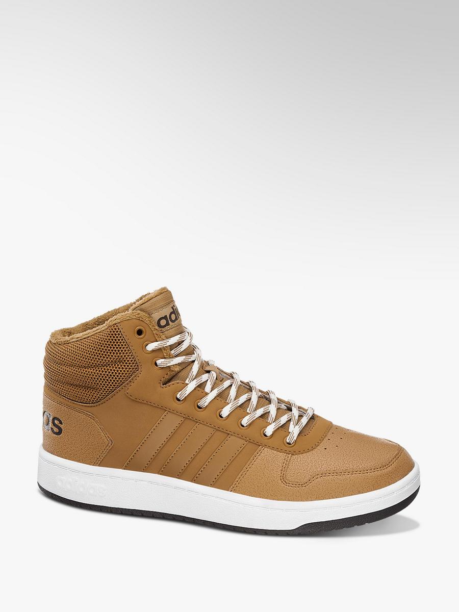 8f5f9314495 Kotníkové tenisky Hoops 2.0 Mid značky adidas v barvě hnědá ...