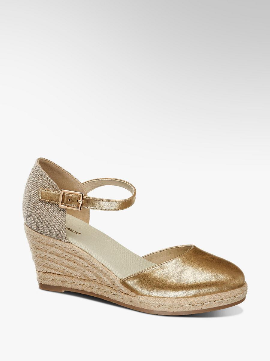 Metalické sandále na klinovom podpätku značky Graceland vo farbe béžová -  deichmann.com 80c36012c52