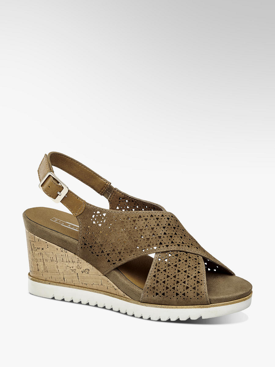 c6124ec30733e Skórzane sandały na koturnie 5th Avenue - 1254024 - deichmann.com