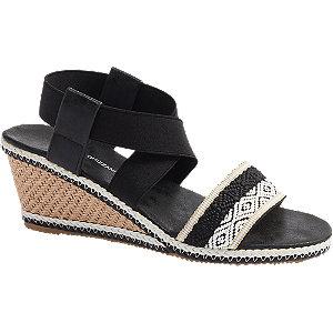 Levně Černo-bílé sandály na klínku Claudia Ghizzani