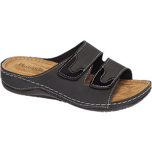 Zwarte slipper leren voetbed Bjrndal maat 41