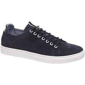 Donkerblauwe suede sneaker perforatie