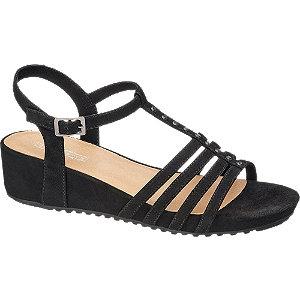 Zwarte sandaal steentjes