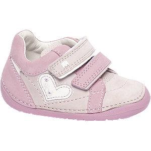 Roze leren klittenbandschoen